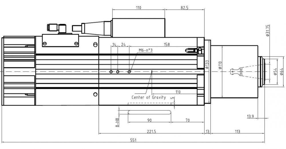 Шпиндель HQD GDL70-24Z/9.0 (9 кВт, воздушное охл.) 380 В - Фото №2
