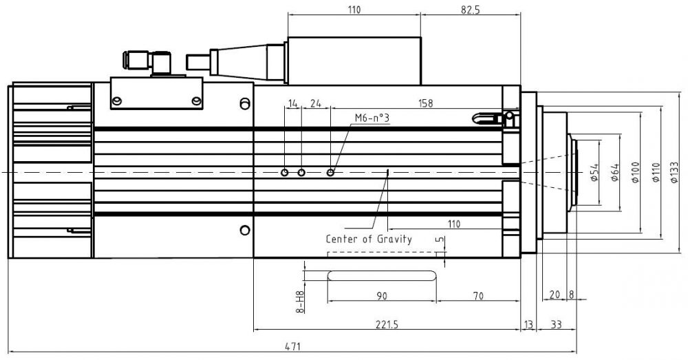 Шпиндель HQD GDL70-24Z/9.0 (9 кВт, воздушное охл.) 380 В - Фото №3