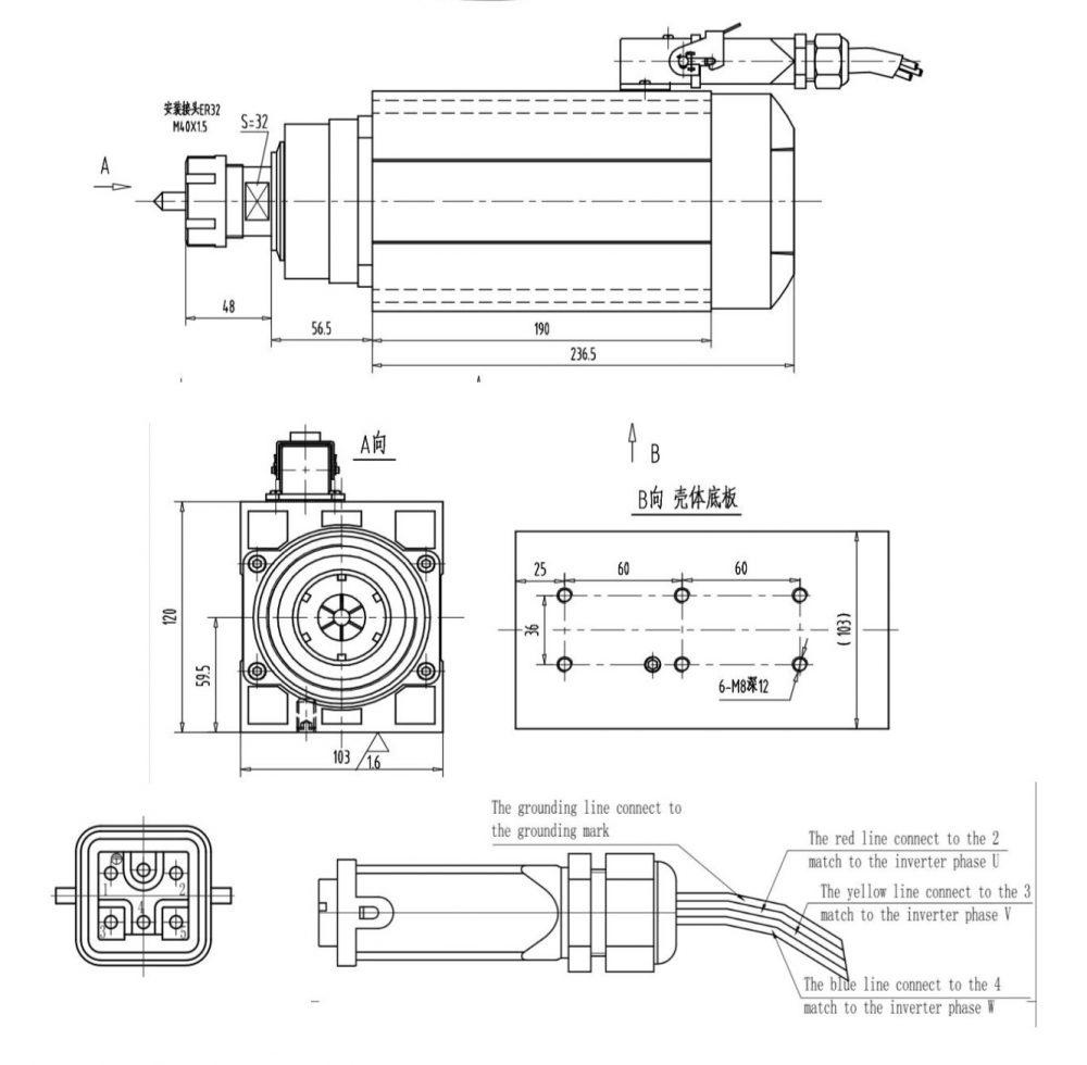 Шпиндель Changlong GDZ120x103-4.5 (ER32) 380 В - Фото №5