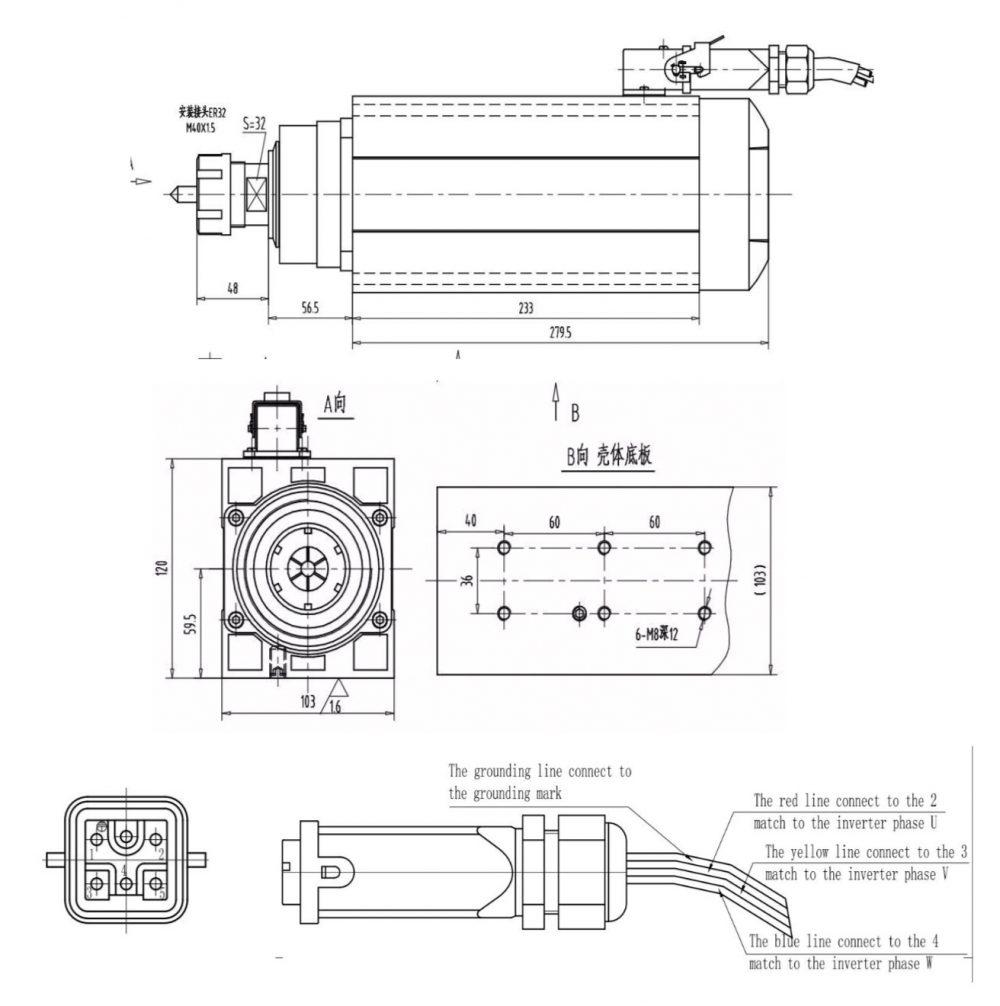 Шпиндель Changlong GDZ120x103-6 (ER32) 380 В - Фото №5