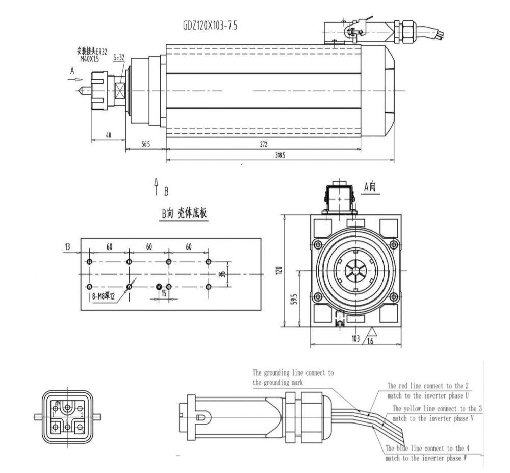 Шпиндель Changlong GDZ120x103-7.5 (ER25) 380 В - Фото №4