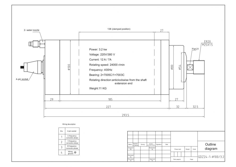 Шпиндель HQD GDZ-24-1B (3.2 кВт, ER20) 220 В - Фото №2