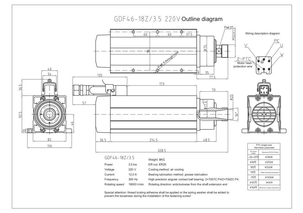 Шпиндель HQD GDF46-18Z/3.5 (3.5 кВт, ER25) 220 В - Фото №2