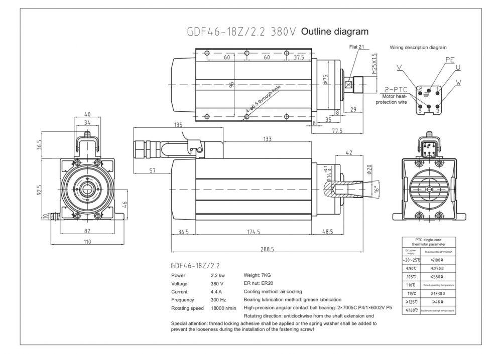 Шпиндель HQD GDF46-18Z/2.2 (2.2 кВт, ER20) 380 В - Фото №2