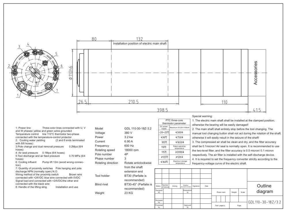 Шпиндель HQD GDL110-30-18Z/3.2 (3.2 кВт, водяное охл.) 380 В - Фото №2