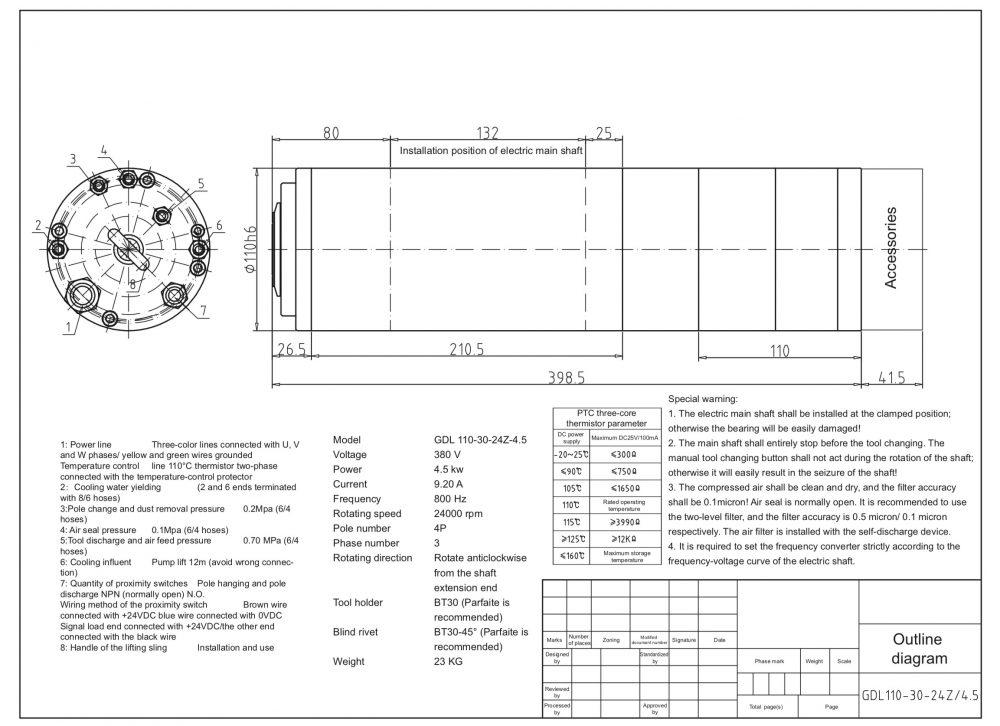 Шпиндель HQD GDL110-30-24Z/4.5 (4.5 кВт, водяное охл.) 380 В - Фото №2