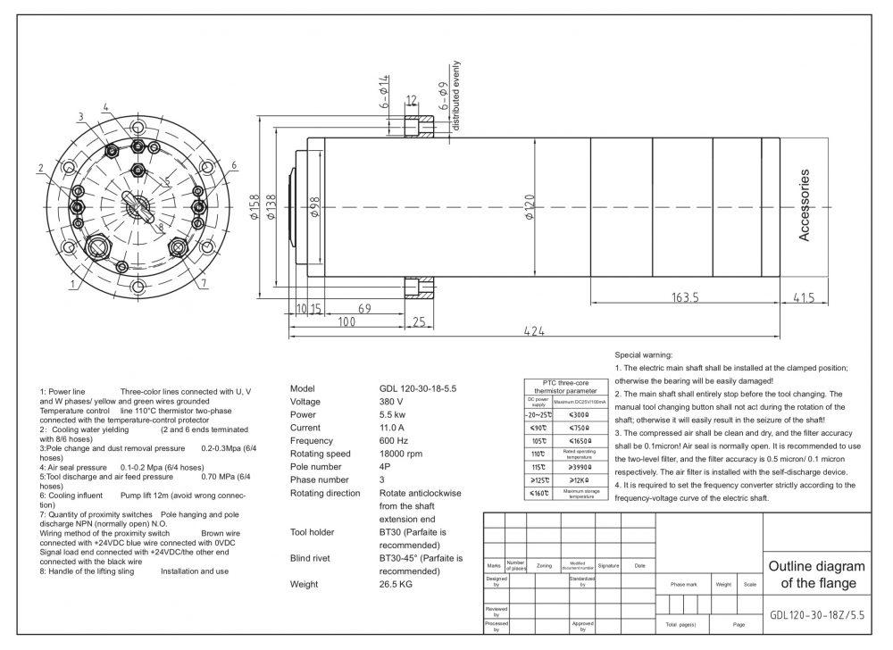 Шпиндель HQD GDL120-30-18Z/5.5 (5.5 кВт, водяное охл.) 380 В - Фото №2
