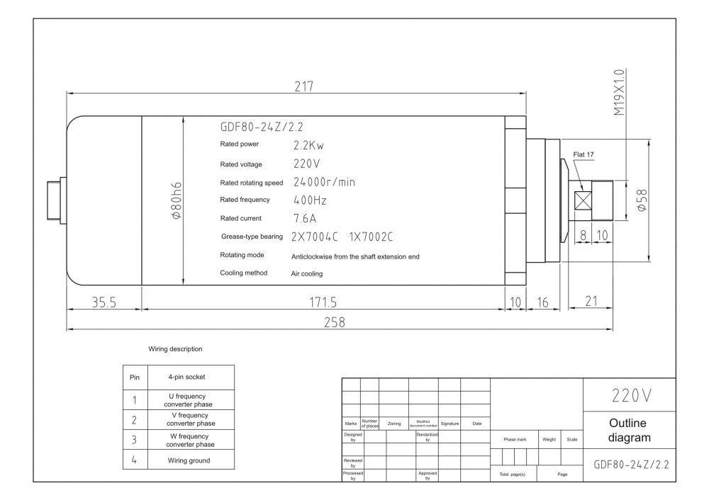 Шпиндель HQD GDF80-24Z/2.2 (2.2 кВт, ER20) 220 В - Фото №3
